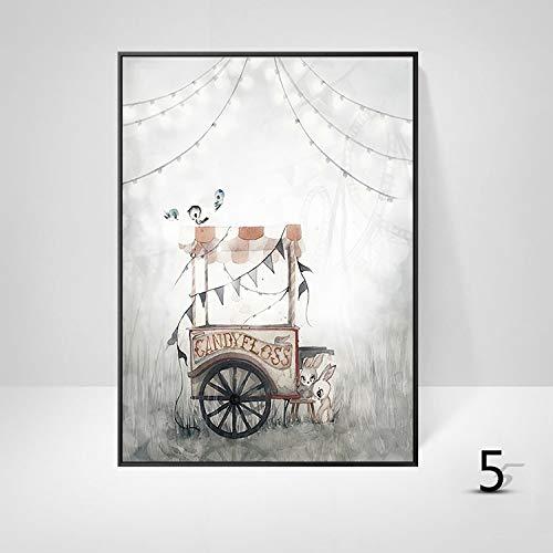 Wsndgws cartoon pittura decorativa animale arte coniglio ragazza nordic vento carino camera da letto appesa foto senza cornice e4 40x60cm