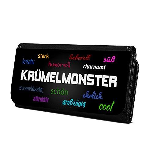 Geldbörse mit Namen Krümelmonster - Design Positive Eigenschaften - Brieftasche, Geldbeutel, Portemonnaie, personalisiert für Damen und Herren