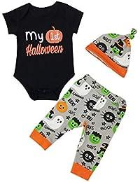 Trajes de Halloween de bebé recién nacido de manga corta Mi primer pelele de Halloween Top y pantalón y sombrero de 3 piezas de conjunto de ropa