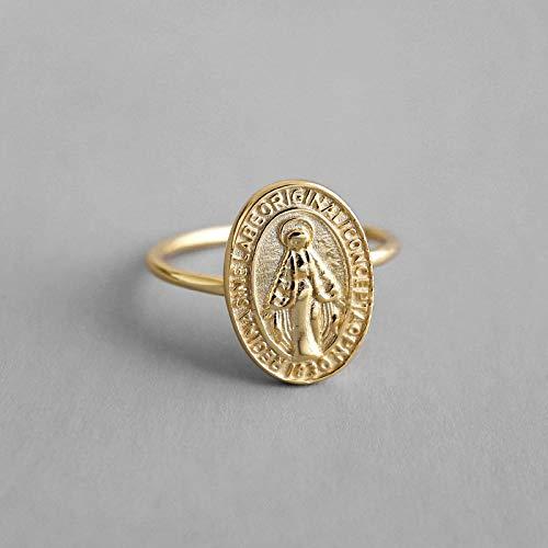 Anillo Ajustable De Plata 925 para Mujer,Golden Virgen María Anillo Redondo para La Mujer Regalo De Cumpleaños Estilo Creativo