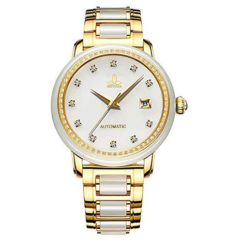 CHIYODA Automatikuhr für Damen, Eleganz Automatikuhr mit Kalender und Weiß Jade Zifferblatt, Wertvolle Uhr für Sammlung - Weiß Jade - Jaden Sammlung
