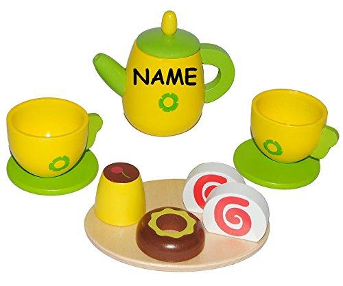 11 tlg. Set - Puppengeschirr mit Kuchen aus Holz - incl. Name - Kaffeekanne + Teller + Tassen -...
