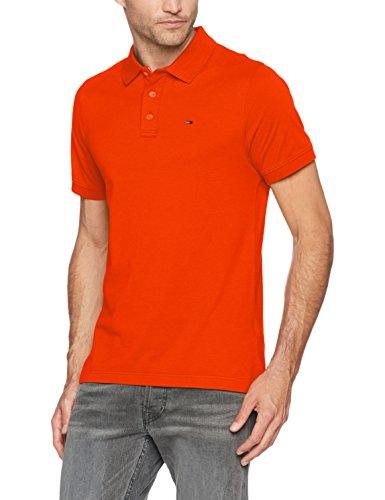 Tommy Jeans Herren Basic Kurzarm Regular Fit Polo Shirt Orange (Spicy Orange 800) Large