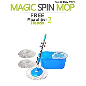 Navraj Easy Magic Floor Mop 360° Bucket PVC with 1 Micro Fiber Refills (Random Color)