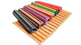 Ca Gi Sa Sorrento Tappeto Bamboo Legno Degradè Multicolor da Cucina o Bagno con Antiscivolo Passatoia (50x100cm, Beige)
