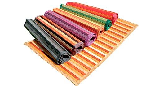 Ca Gi Sa Sorrento Tappeto Bamboo Legno Degradè Multicolor da Cucina o Bagno con Antiscivolo Passatoia (50x280cm, Verde)