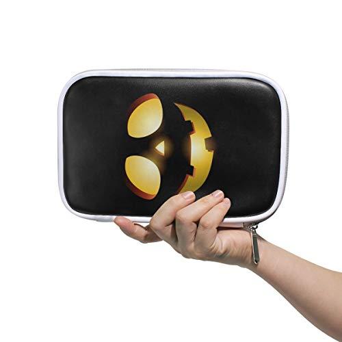 Montoj Gruselige Kosmetiktasche mit Reißverschluss, Kürbis-Gesicht, Make-up-Pinseltasche mit Reißverschluss