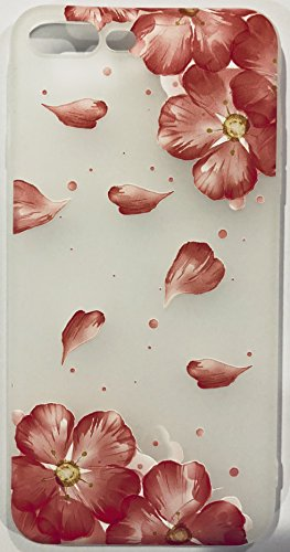 Weiche Gel Haut Frosted Clear Case für Apple iPhone 6/6S Geprägte Rosa Rot Plum Blossom Flower Petal