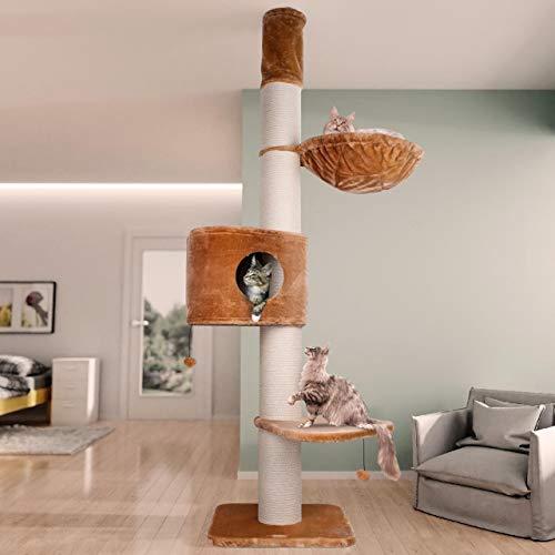 Happypet Premium Kratzbaum, Giant CAVE Tower I, für große schwere Katzen (Main Coon), 8mm Sisal, 17cm Säulen, 45cm Liegemulde, 275cm Deckenhoch BEIGE