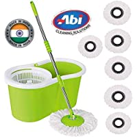 ABI CLEANING SOLUTIONS Mop Floor Cleaner with Bucket Set Offer with Big Wheels for Best 360 Degree Easy Magic Cleaning, Green with 6 Microfiber