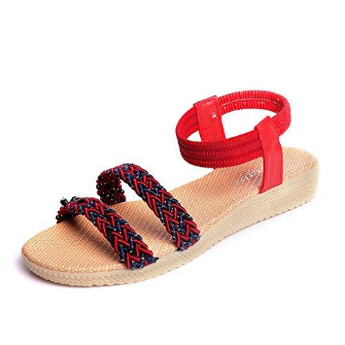 Transer ® Fashion femmes Bohême plat sandales Peep-Toe doux tongs Rouge