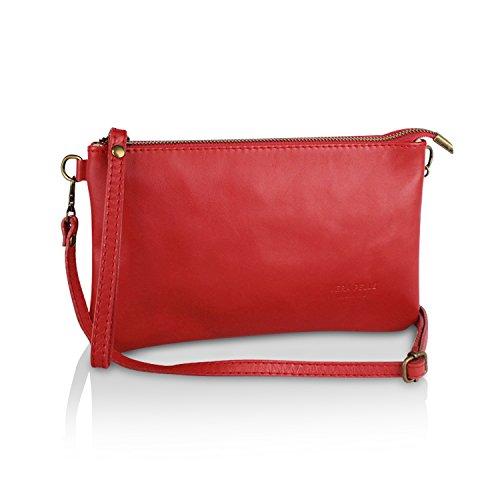 Glamexx24 Borsa vera Palle da Donna a mano , Casual Borsetta a tracolla, elegante Clutch Made in Italy 1.009 1.009.3 Rosso