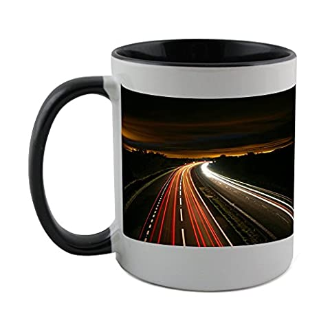 Mug with black coat inside of Highway, Night, Traffic, Light, Motion