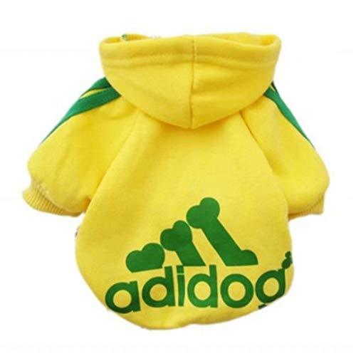Scheppend Adidog Pet Dog Kleidung Wintermantel Jacket Cat Puppy Hoodie Pullover Baumwolle Kleidung für kleine Hunde(Gelb,Gr.XS) -