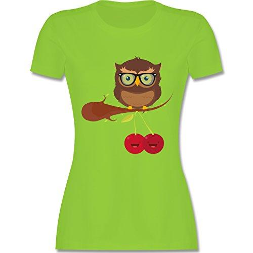 Eulen, Füchse & Co. - Süße Eule Hipster - tailliertes Premium T-Shirt mit Rundhalsausschnitt für Damen Hellgrün