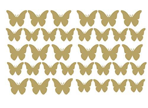 60 Second Makeover Limited Vinyle Qualité Papillon Autocollants Auto Moto Sccoter Casque Autocollant Graphique Papillons - Doré Mat
