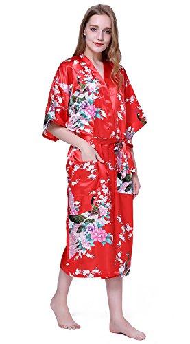 HonourSport Damen Morgenmantel Satin langer Kimono Bademantel ...