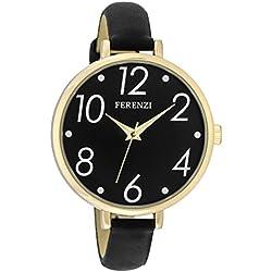 Ferenzi Women's | Large Modern Easy Read Black Face Thin Black Band Watch | FZ16104