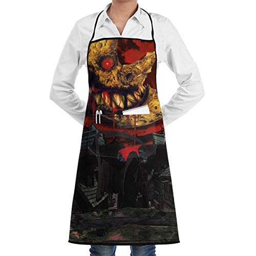 QIAOJIE Halloween Bloody Moon Apron, Unisex Kitchen Bib Apron with Adjustable Neck for Cooking Baking Gardening, Multicolor