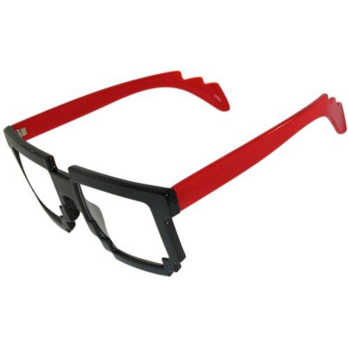 MJ Boutique Erstaunlich! Verpixelte Nerd Geek Brille Do the Robot! in Schwarz mit rotem Finish