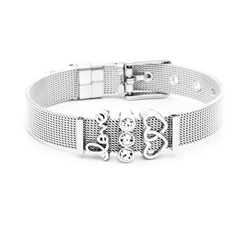 and Damen | Individuelle Anhänger Charms | Edelstahl | Charmband Set Frauen | Silber Rosegold Gold Bracelet (Sparkling Love - Silber) ()