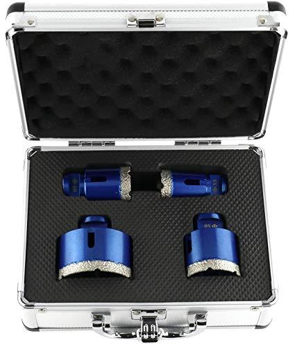 PRODIAMANT Profi Diamant-Bohrkronenset 4-teilig (35 mm, 40 mm, 50 mm, 68 mm x M14) in Aluminium Koffer Diamant Fliesenbohrer Set