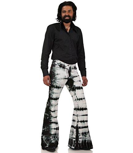 Schwarz weiß gebatikte Hippie Schlaghose Schwarz Weiß