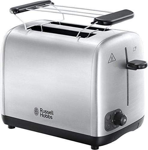 Russell Hobbs 24080-56 Grille Pain, Toaster Adventure, Cuisson Homogène, Contrôle Brunissage, Chauffe Viennoiserie - Acier Brossé