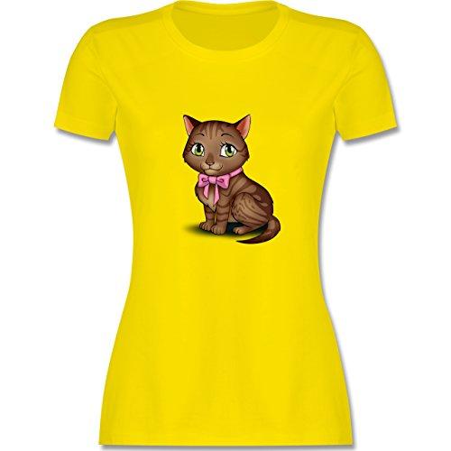 Katzen Kätzchen mit Schleife tailliertes Premium TShirt mit  Rundhalsausschnitt für Damen Lemon Gelb