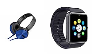 MIRZA Extra Extra Bass XB450 Headphones & GT08 Bluetooth Smart Watch for MICROMAX CANVAS DUET II(XB 450 Headphones,With MIC,Extra Bass,Headset,Sports Headset,Wired Headset & Bluetooth GT08 Smart Watch Wrist Watch Phone with Camera & SIM Card Support Hot Fashion New Arrival Best Selling Premium Quality Lowest Price with Apps like Facebook, Whatsapp, Twitter, Sports, Health, Compatible with Android iOS Mobile Tablet-Assorted Color)