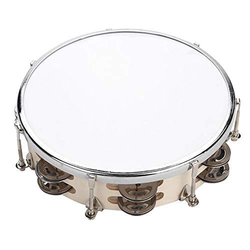 Dilwe Hand Tamburine Trommel, Verstellbare Holz Hand Tamburin Tunable Hand Drum Bell Percussion Musikinstrument für Kinder Kinder(8 Zoll)