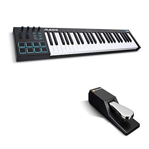 Alesis V49 + M-Audio SP-2 - 49-Tasten USB-MIDI Keyboard Controller mit 8 hintergrundbeleuchteten Pads und 4 zuweisbaren Encodern + Universal Sustain Pedal mit Piano Style Action