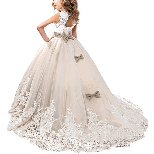 OBEEII Blumenmädchen Mädchen Applique Prinzessin Lang Kleid Elegante Tüll Kleid für Erste Kommunikation Hochzeit Brautjungfer Festzug Tanzen Karneval Abendkleid 10-11Jahre Champagner