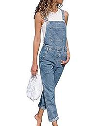 HIFUAR Damen Latzhose Jeans Hose Baggy Boyfriend Jumpsuit Overall Hüftjeans Langer Overall Blumen Denim Jeans Jeansoptik Klasse Vintage Loose fit Latzjeans