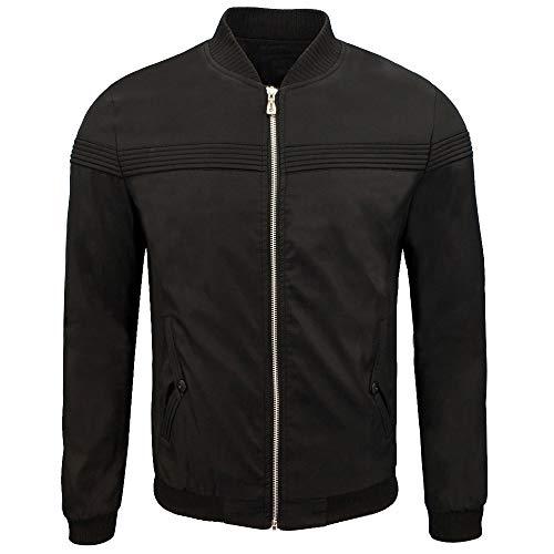 Xmiral Herren Jacke Mantel Herbst Winter Biker Motorrad Zipper Outwear Einfach Stickerei Top (M,Schwarz3)