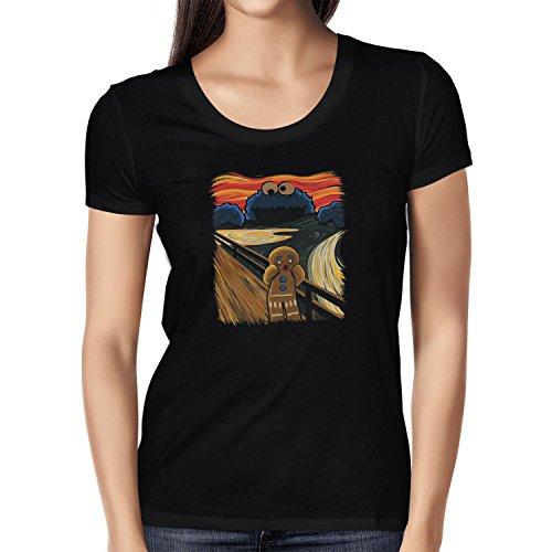 NERDO Gingerbread Scream - Damen T-Shirt, Größe M, Schwarz