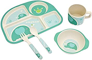 LuvLap Baby Bamboo Fibre Tableware Cutlery 5 pc Set - with Printed Spoon, Fork, Mug, Bowl & Plate - Blue