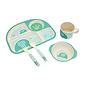 LuvLap Baby Bamboo Fibre Tableware Cutlery 5 pc Set - with Printed Spoon, fork , Mug, Bowl & Plate (Blue)