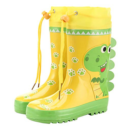 HOOH Toddler Kids Wellington Boots Waterproof Rubber Drawstring Cartoon Candy Color Rainboots Funny Slip On Water Shoes