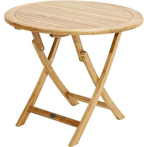 Wirtshaus-tisch (Ploß 1041390 Gartentisch zur Gartengarnitur Teak 4 Stühle Textilene-Bespannung)