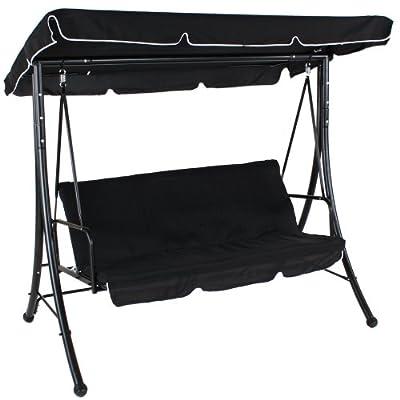 TecTake® Luxus Hollywoodschaukel Gartenschaukel 3-Sitzer mit Bettfunktion schwarz