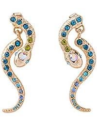 Wanmei-erhuan Simétrica Serpiente Cristal Azul Pendientes Piercing En La Oreja Punk Personalizada Hembra Doble