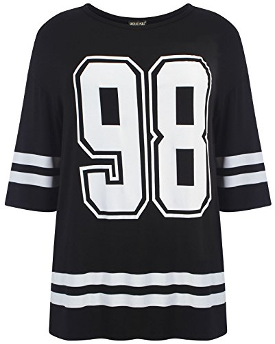 Chocolate Pickle ®Neue Damen Übergrößen sackartige Baseball Varsity T-Shirt Oberteile (Chicago Bulls Dress)