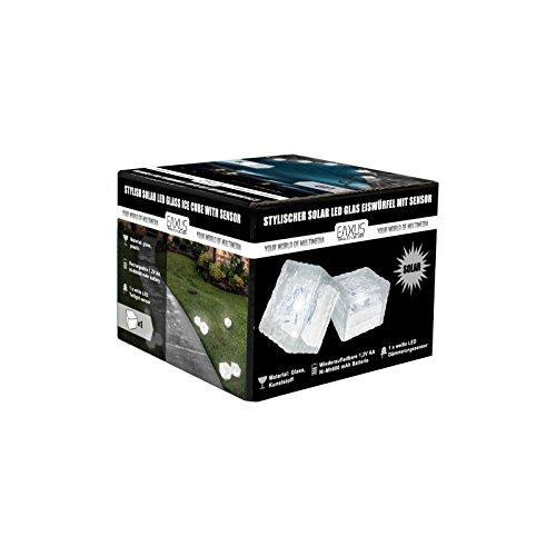 Eaxus® LED Solar Glaswürfel - Solarleuchte Gartenlaterne mit Dämmerungssensor