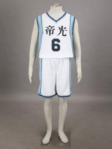 Kuroko's Basketball Cosplay - Teikou Middle School Nr. 6 Aomine Daiki weiß Jersey, Größe S :(155-160 cm,40-50 (Kostüm Cosplay Aomine Daiki)