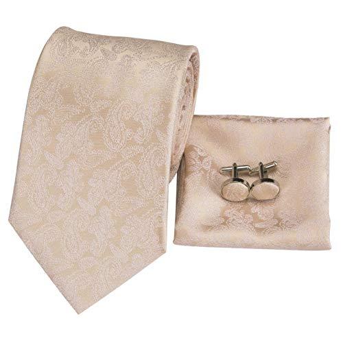 FDHFC Frühling Champagner Floral Seidenkrawatten Für Männer 8,5 cm Breite Erwachsene Krawatte Formale Business Hochzeit Seide Set - Champagner-frühling