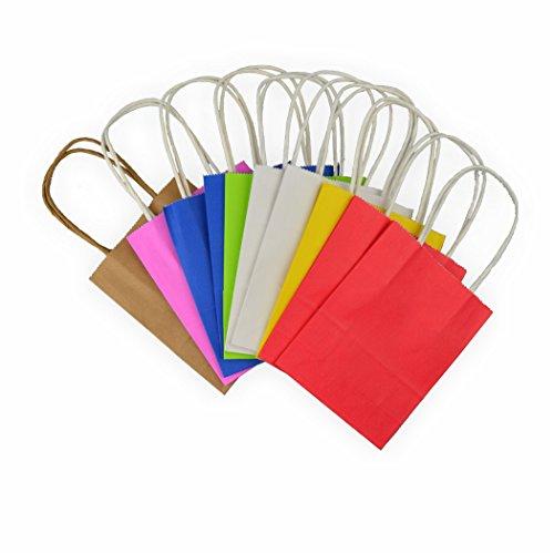 Creleo 791803 Papiertüten aus Kraftpapier, farbig sortiert mit gedrehtem Papiertragegriff, 12 x 5.5 x 15 cm, 10 Stück, bunt