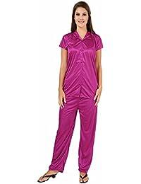 Fashigo Women's Solid Satin Top & Pyjama Set (Free Size)