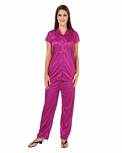 Fashigo-Womens-Solid-Satin-Top-Pyjama-Set-Free-Size