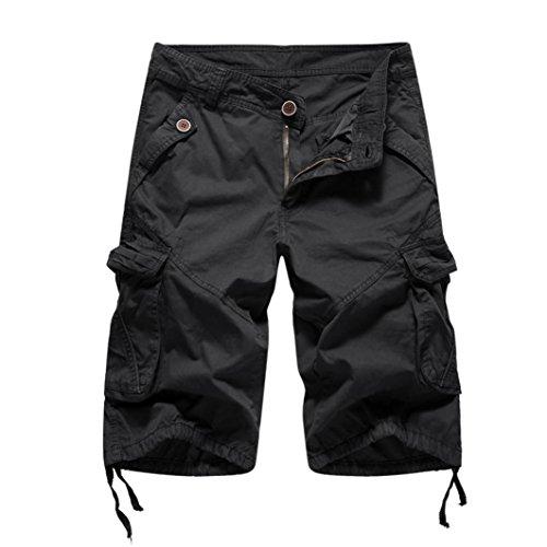 MOIKA Herren Cargoshorts, Sommer Herren Jogginghose Basic Cargoshorts im Klassischen Stil Bermudas Sportshorts Sweatshorts Alltägliche Shorts Casual Shorts(L,Schwarz)